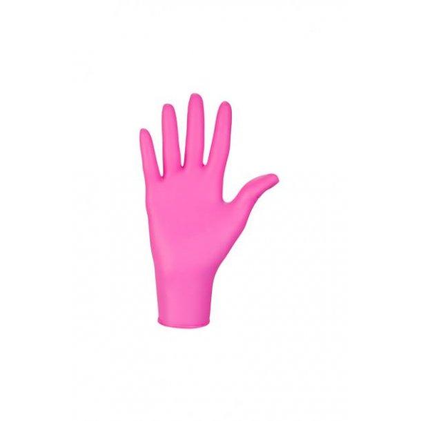 Engangs pink kollagen nitrilhandsker 100 stk.